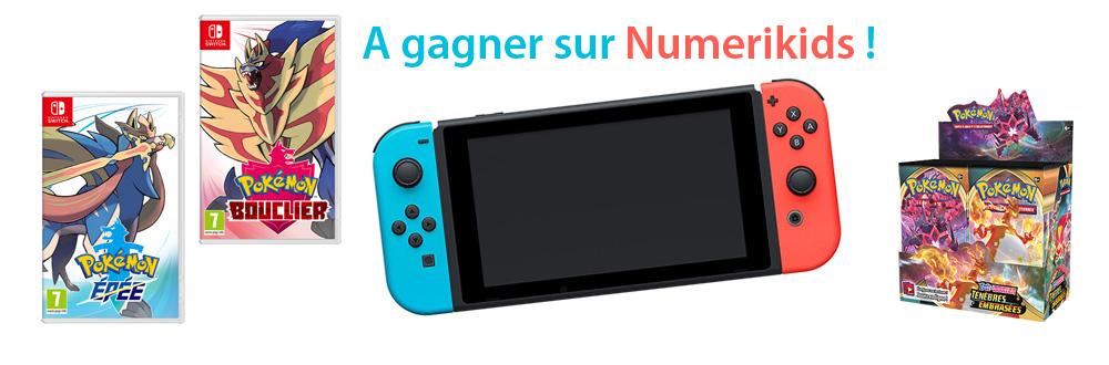 Un gros lot avec la console Nintendo Switch + le jeu Pokémon Epée ou Pokémon Bouclier +  36 boosters : Pokémon Épée et Bouclier – Ténèbres Embrasées